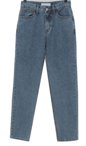 Blooming straight slim denim pants