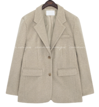 Single-Breasted Wool Blend Jacket