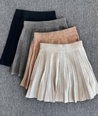 A-Line Pleated Knit Skirt