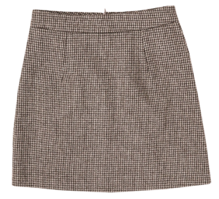 Wool check skirt-2color