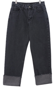 Roll-up denim straight-leg trousers