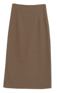 Plain tan knit long skirt