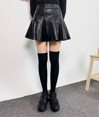 Faux Leather Flared Mini Skirt