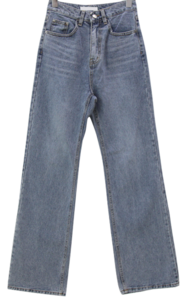 Light blue non-span slim wide jeans デニムパンツ