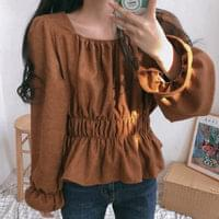 Vanessa square-neck ruched blouse