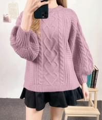 Mixed Knit Pattern Bishop Sleeve Sweater