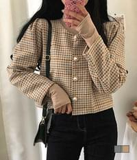Emmental Tweed Pearl Button Puff Jacket