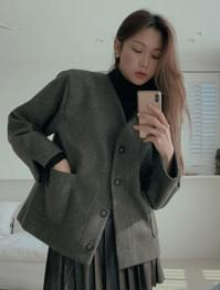Annber sleeve slit no-collar wool jacket