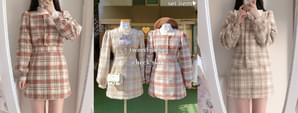 Wool 20% tweed pearl jacket + check skirt