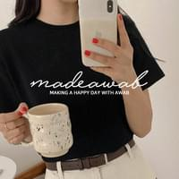 Same day delivery♥#AWABMADE:_Pitch hair short-sleeved tee