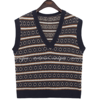 CAMEL WOOL 50% PATTERN KNIT VEST