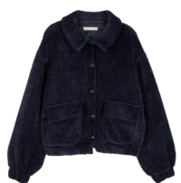 Teddy button shearling jacket