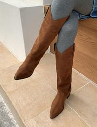 Suede V-cut Western Long Boots
