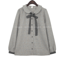 ADORABLE WOOL CHECK TIE BLOUSE
