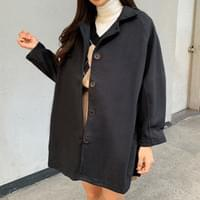 Wool balloon collar coat