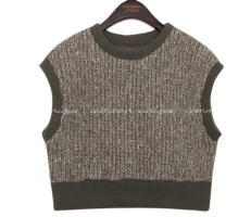 LEAF WOOL BOKASHI CROP KNIT VEST