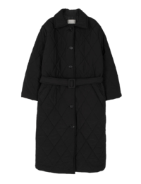 Hove belted long padded coat
