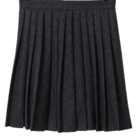Herringbone pleated wool mini skirt