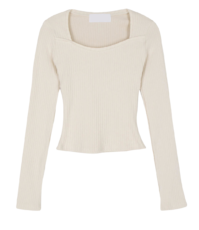With square-neck evening top