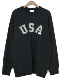 Vine USA Lettering Rams Wool Knit