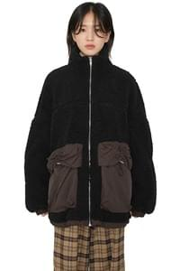 Unisex Big Pocket Color Shearing Jacket
