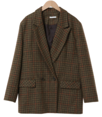 Memory Double Wool Check Jacket