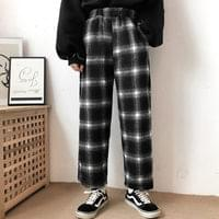 Fleece-lined Big Square Check Banding Pants