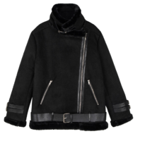 Softy belted fur mustang jacket