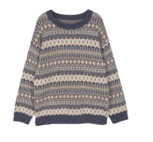 Biller Pattern Angora Crew Neck Knit