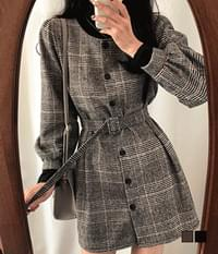 Retro Wool Brushed Check Belt Mini Dress