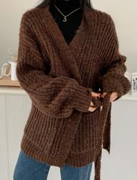 Mono Ribbed Belt Wool Cardigan