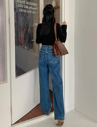 Glory Fleece-lined wide denim pants
