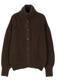 Mayo reversible turtle ribbed cardigan
