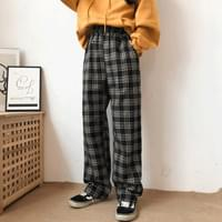 Tartan check easy cotton pants