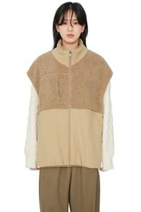 Combo shearling vest