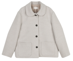 Has Round Collar Short Coat