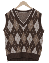 Argyle Check Wool Knit Best