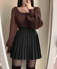 Glam ribbed puff knit 4color