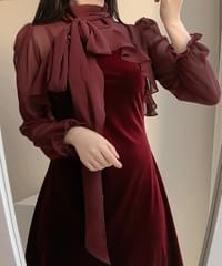 Sharbie frill velvet dress 2color