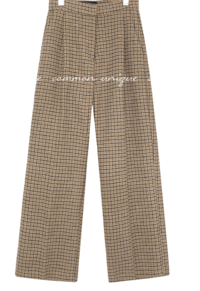 NANA WOOL CHECK WIDE PANTS