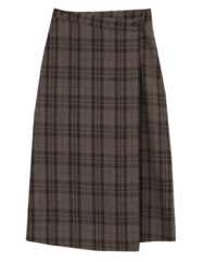 Cube Wrap Wool Check Long Skirt