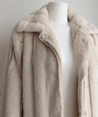 Creamy Rabbit Fur Coat 2color