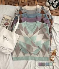 Vintage argyle v-neck knit