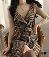 Gabi Knit + Check Wool One Piece Two Piece Set