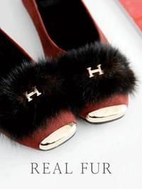 Scale Height Real Fur Flat Shoes 2cm