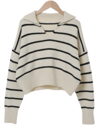 Striped wool collar cropped knit