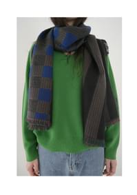 check and stripe mix muffler (2colors)