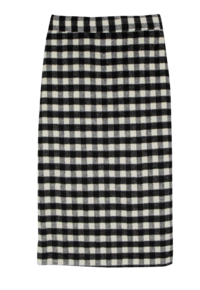 Cloud check midi skirt