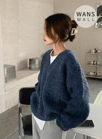 kn3196 lining v-neck sweater