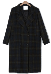Ed quilted lining wool check coat